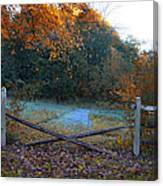 Wooden Fence In Autumn Canvas Print