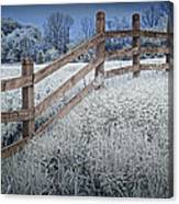 Wooden Fence Of A Friesian Horse Pasture On Windmill Island Canvas Print