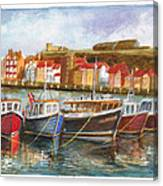 Wooden Fishing Boats In The Whitby Fleet Of Northern England Canvas Print