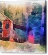 Wooden Fishing Hunting Cabin Photo Art Canvas Print