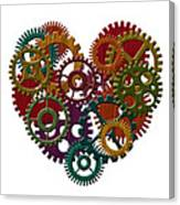 Wooden Gears Forming Heart Shape Illustration Canvas Print