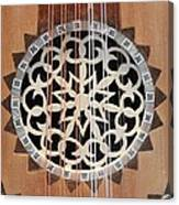 Wooden Guitar Inlay With Strings Canvas Print