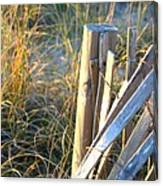 Wooden Post And Fence At The Beach Canvas Print