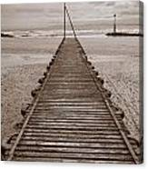 Wooden Slipway Rhos On Sea Canvas Print