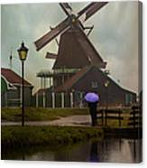 Wooden Windmill In Holland Canvas Print