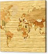 Wooden World Map 2 Canvas Print