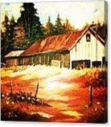 Woodland Barn In Autumn Canvas Print