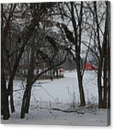 Woodland Farm In Winter Canvas Print