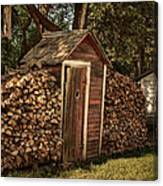 Woodpile And Shed Canvas Print