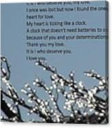Words Of Love With Glittering Tree Stems Canvas Print