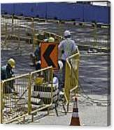 Workers Preparing The Road Surface And Sides Preparing For The Formula 1 Canvas Print