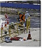 Workers Working On The Road Surface Preparing It For The Formula One Race Canvas Print