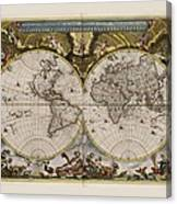 World Map 1664 Ad With Small Matching Border Canvas Print