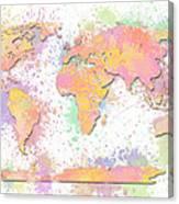 World Map 2 Digital Watercolor Painting Canvas Print