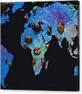 World Map And Sagittarius Constellation Canvas Print