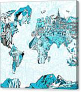 World Map Blue Collage Canvas Print