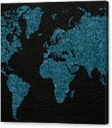 World Map Blue Vintage Fabric On Dark Leather Canvas Print