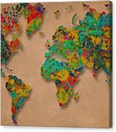 World Map Digital Watercolor Painting  Canvas Print