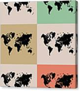 World Map Grid Poster 2 Canvas Print