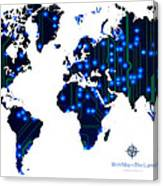World Map In Blue Lights Canvas Print