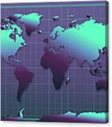 World Map In Dark Green Canvas Print