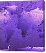 World Map In Purple Canvas Print
