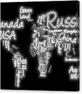 World Map In Text Neon Light Canvas Print