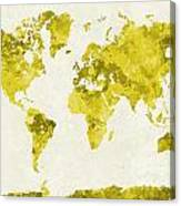 World Map In Watercolor Yellow Canvas Print