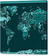 World Map Landmark Collage 4 Canvas Print