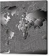 World Map Landmark Collage 6 Canvas Print