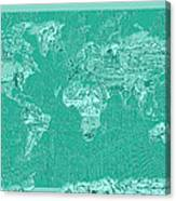 World Map Landmark Collage Green Canvas Print