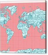 World Map Landmark Collage Canvas Print