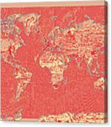 World Map Landmark Collage Red Canvas Print