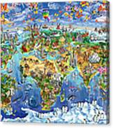 World Map Of World Wonders Canvas Print