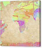 World Map Pastel Watercolors Canvas Print