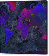 World Map - Purple Flip The Dark Night - Abstract - Digital Painting 2 Canvas Print