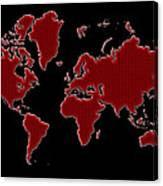 World Map Red Grid Canvas Print