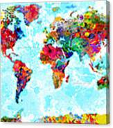 World Map Spattered Paint Canvas Print