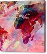 World Map Splash Of Color Canvas Print
