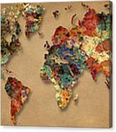 World Map Watercolor Painting 1 Canvas Print