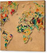 World Map Watercolor Painting 2 Canvas Print