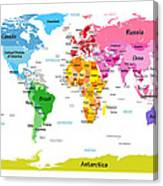 World Map With Big Text  Canvas Print