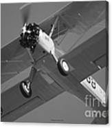 Stearman Trainer Bi Plane Black And White Canvas Print