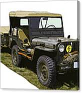 World War Two Army Jeep With Trailer  Canvas Print
