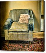 Worn Chair By Doorway Canvas Print