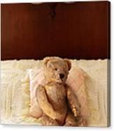 Worn Teddy Bear On Bed Canvas Print