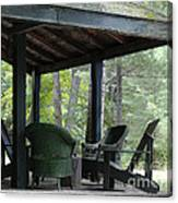 Worn Wicker Chairs On Old Veranda Canvas Print