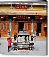 Worshipers In Urn Courtyard Of Chinese Temple Shanghai China Canvas Print