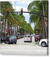 Worth Ave Palm Beach Fl Facing West Canvas Print