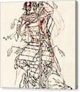 Wounded Samurai Drinking Sake C. 1870 Canvas Print